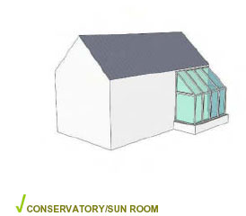 Storey and half conservatory attached and integrated with building form.